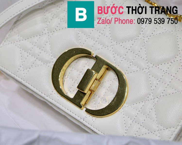Túi xách Dior Caro siêu cấp da bò mềm màu trắng size 20cm - M8016