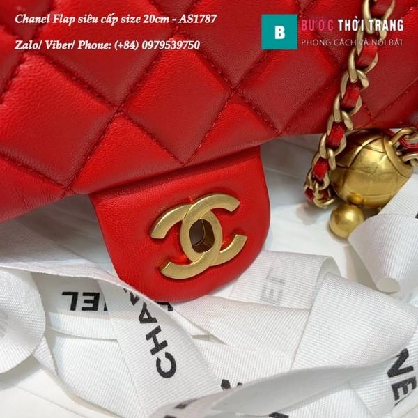 Túi xách Chanel Flap Bag siêu cấp da cừu màu đỏ size 20cm - AS1787