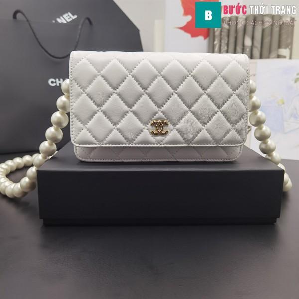 Túi Xách Chanel Classic Wallet On Chain siêu cấp da cừu màu trắng 19cm - 81028