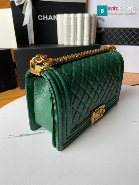 Túi xách Chanel boy siêu cấp màu xanh lá size 25 cm - A67086