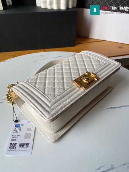 Túi xách Chanel boy siêu cấp màu trắng size 25 cm - A67086