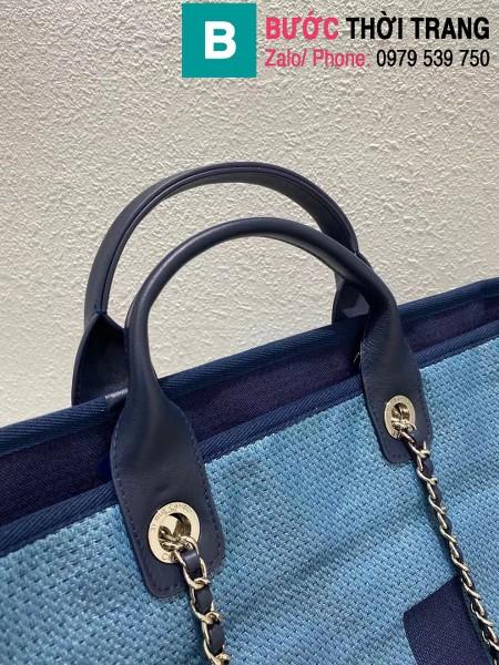 Túi xách Chanel tote bag siêu cấp vải casvan màu xanh size 38cm - A57161