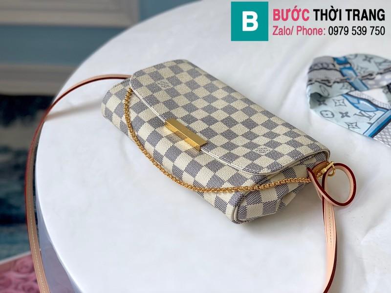 Túi Louis Vuitton Favorite MM siêu cấp màu trắng kẻ cá rô size 28 cm - M41275