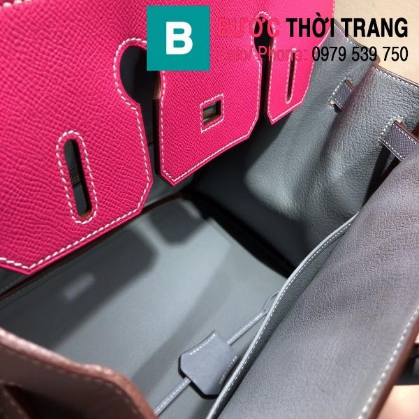 Túi xách Hermes Birkin siêu cấp da epsom màu xám hồng size 30cm