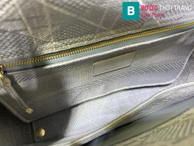 Túi xách Dior Lady vải siêu cấp màu xanh nhạt size 24cm