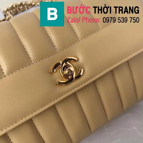 Túi đeo chéo Chanel siêu cấp mẫu mới da cừu màu nude size 23cm - AS1499