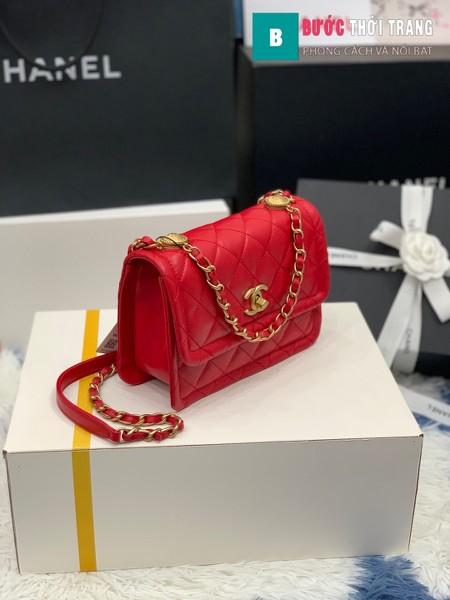Túi xách Chanel Crossbody Bag siêu cấp màu đỏ size 22 cm - AS2055