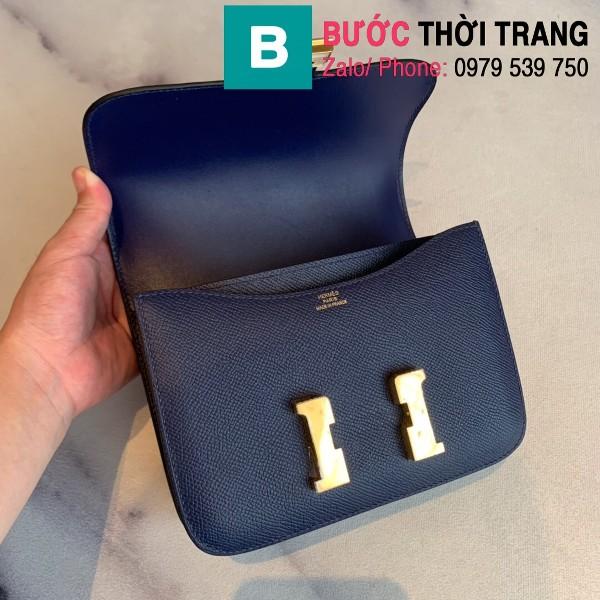 Túi xách Hermes Constance siêu cấp da epsom màu xanh tím than size 18cm