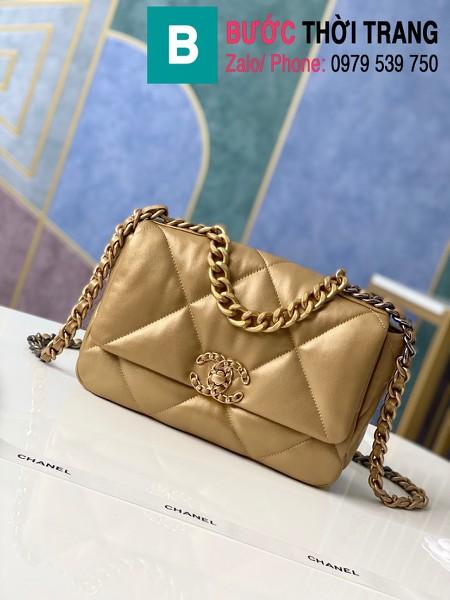 Túi xách Chanel 19 flap bag siêu cấp da bê màu đồng size 26 cm - 1160