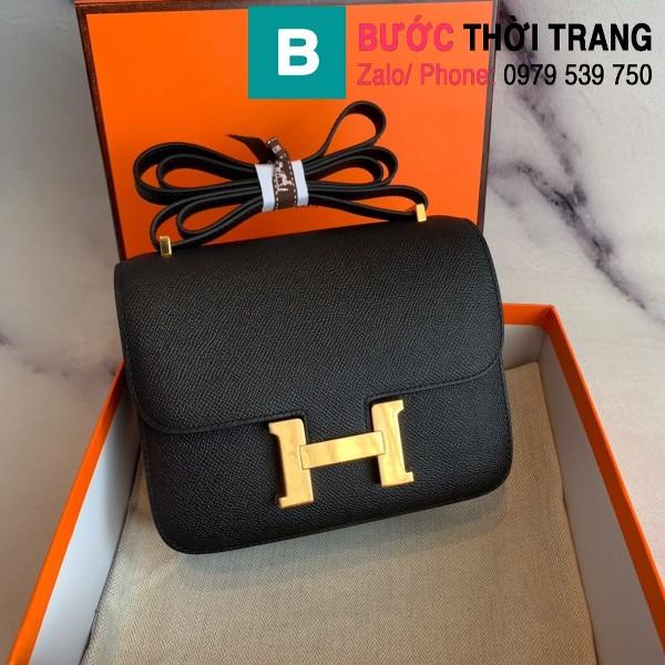 Túi xách Hermes Constance siêu cấp da epsom màu đen size 18cm