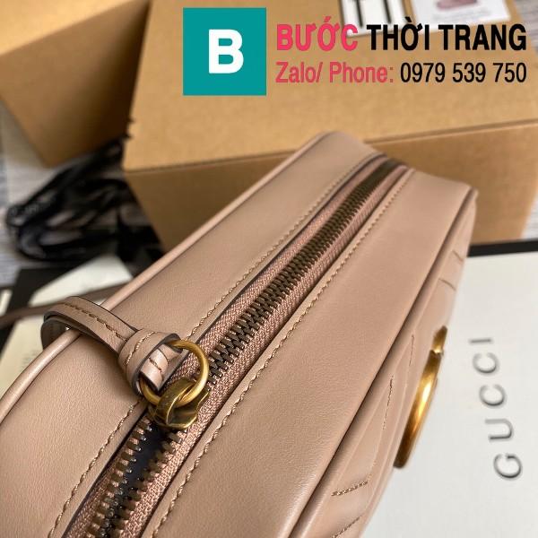 Túi xách Gucci Marmont small matelassé shoulder bag siêu cấp màu nude size 24cm - 447632