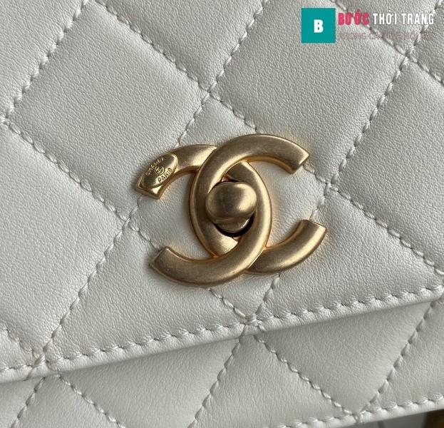 Túi xách Chanel Woke Classic Fap siêu cấp màu  trắng da cừu size 15 cm - AS2052