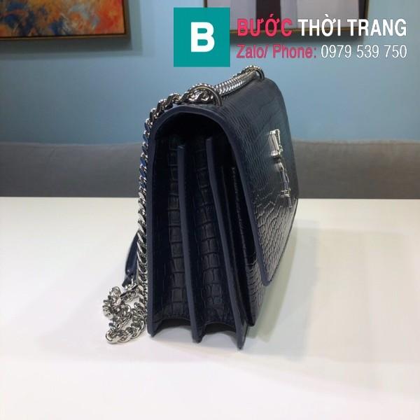 Túi đeo chéo YSL Saint Laurent bag siêu cấp da bò dập vân cá sấu màu xanh size 22cm - 442906