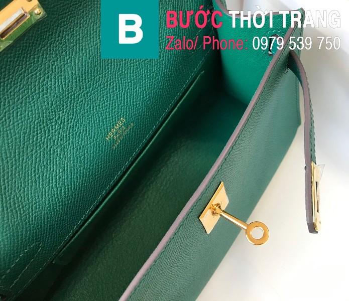 Túi xách Hermes Kelly Pochette siêu cấp da epsom màu xanh size 22cm