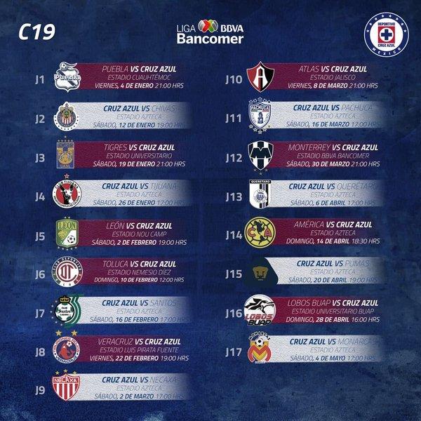 Calendario del Cruz Azul para el Clausura 2018