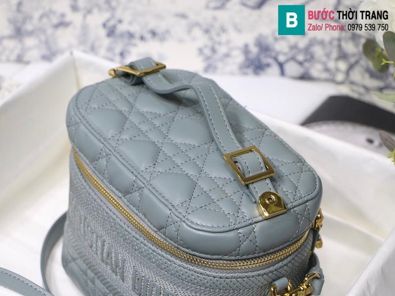 Túi xách Dior Travel vanity case siêu cấp da cừu màu xanh nhạt size 18.5cm