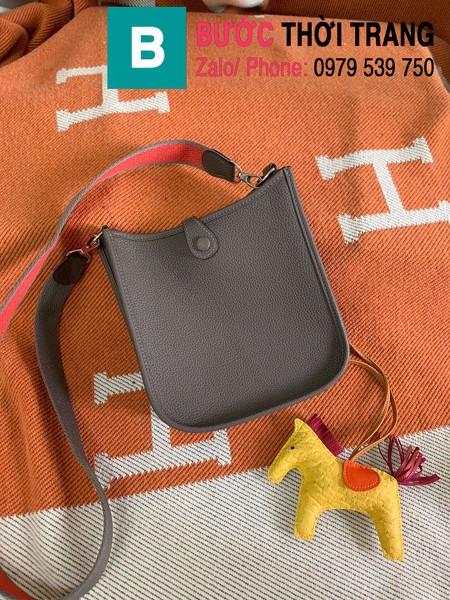 Túi xách Hermes Evelyne mini bag siêu cấp da togo màu nâu size 17cm