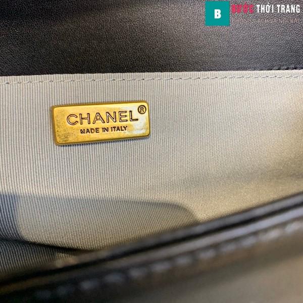Túi xách Chanel boy siêu cấp da trăn màu trắng đen size 25 cm - A67086