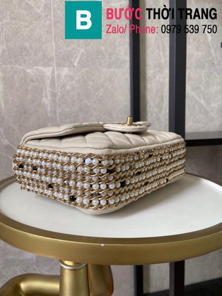 Túi xách Chanel Side Pearl Classic siêu cấp da cừu màu trắng size 23cm - AS1740