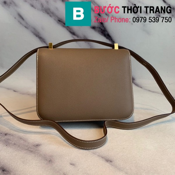 Túi xách Hermes Constance siêu cấp da epsom màu nâu size 18cm