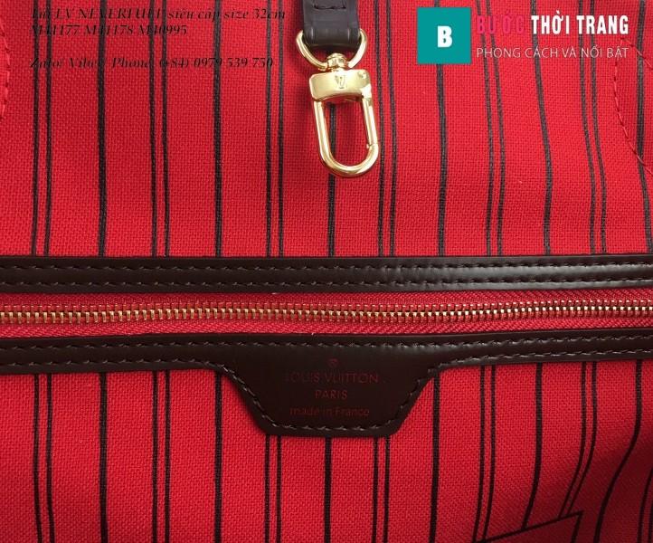 Túi LV NEVERFULL MM siêu cấp họa tiết caro lót đỏ cherry 32cm - N41603