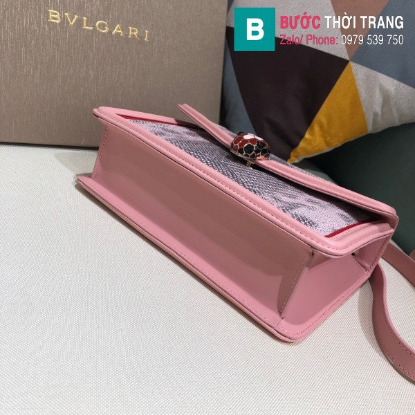 Túi xách Bvlgari Seventi Diamond Blast siêu cấp da trăn màu hồng size 24 cm