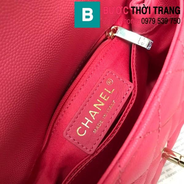 Túi xách Chanel Coco Handle Mini bag siêu cấp da bê màu hồng size 19cm - AS2215