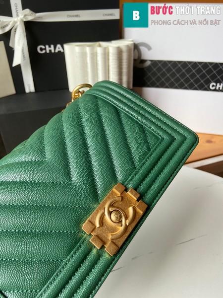 Túi xách Chanel boy siêu cấp vân v màu xanh ngọc size 25 cm - A67086