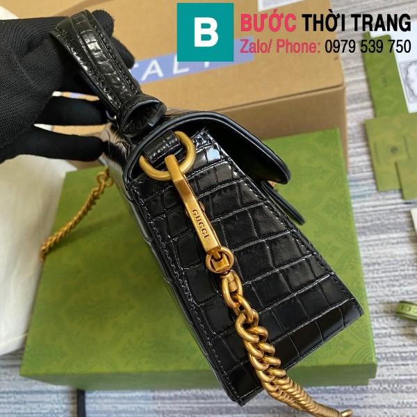 Túi xách Gucci Marmont siêu cấp da bò dập vân cá sấu màu đen size 21cm - 547260