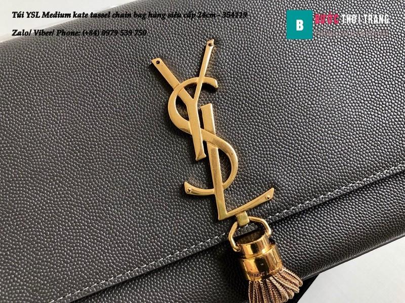 Túi YSL Medium kate tassel chain màu ghi tag vàng size 24cm - 354119
