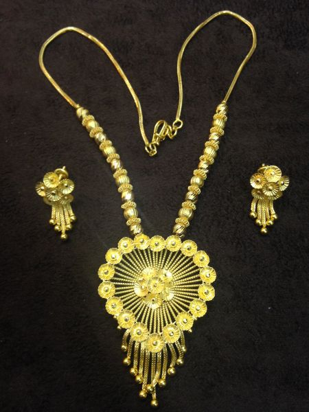 Details About Gorgeous Handmade Dubai Chain Necklace Earrings Set In Solid Certified 22k Gold
