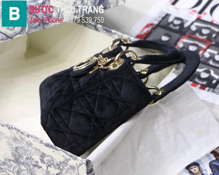 Túi xách Dior Lady Mini bag siêu cấp vải canvas màu đen size 17 cm