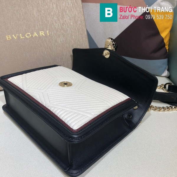 Túi xách Bvlgari Seventi Diamond Blast siêu cấp da bê màu trắng đen size 24 cm - B286628
