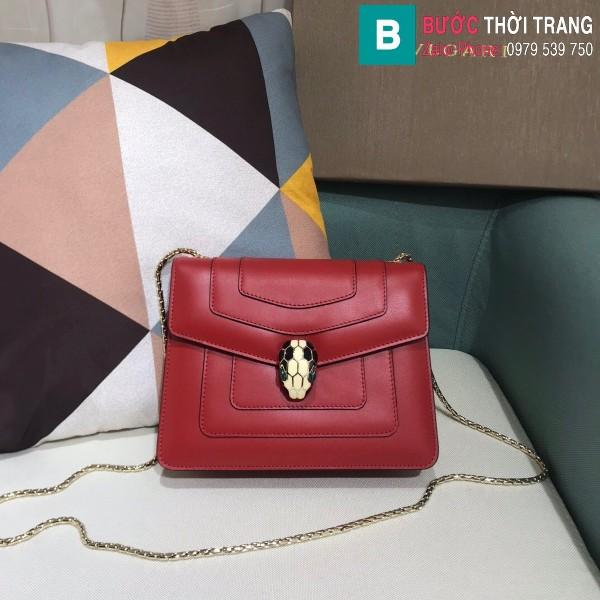 Túi xách Bvlgari serventi forever siêu cấp da bê màu đỏ size 20 cm