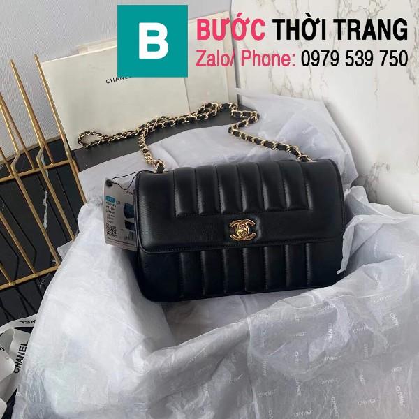 Túi đeo chéo Chanel siêu cấp mẫu mới da cừu màu đen size 23cm - AS1499