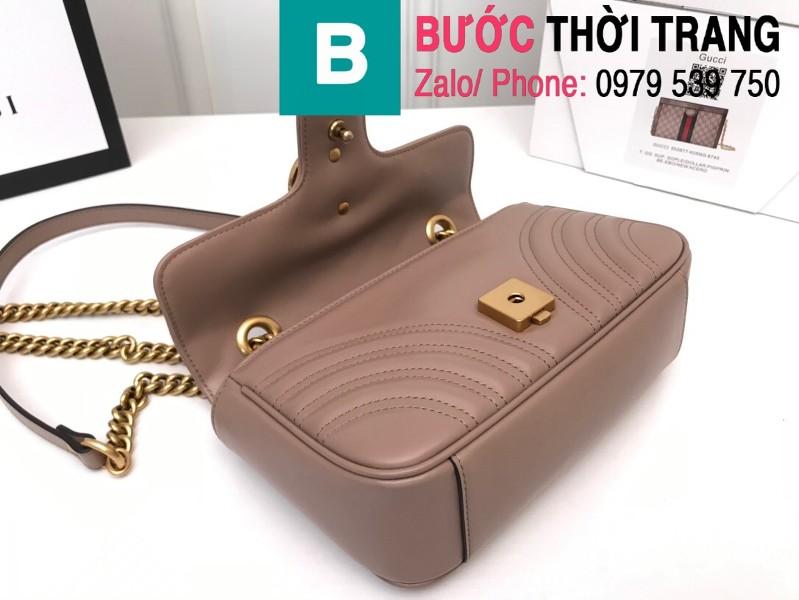 Túi xách Gucci Marmont matelasé mini bag siêu cấp màu nude size 22cm - 446744