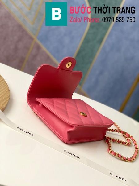 Túi xách tay Chanel mẫu mới siêu cấp da bê màu hồng size 18 cm - AS8817