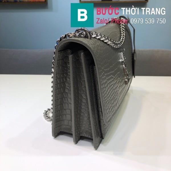 Túi đeo chéo YSL Saint Laurent bag siêu cấp da bò dập vân cá sấu màu ghi size 22cm - 442906
