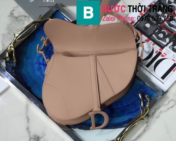 Túi xách Dior Saddle Bag siêu cấp chất liệu da bê màu nude size 25.5cm