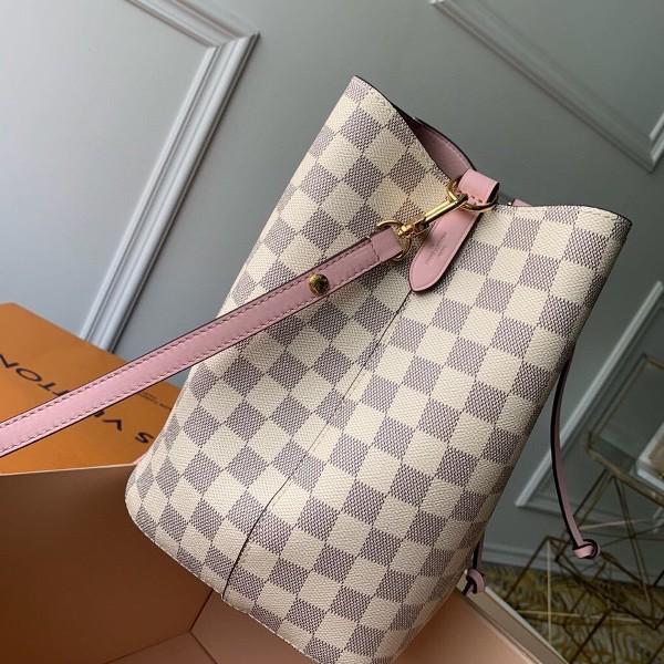 Túi xách LV Neo Noe siêu cấp họa tiết caro trắng dây hồng size 26cm - N40152