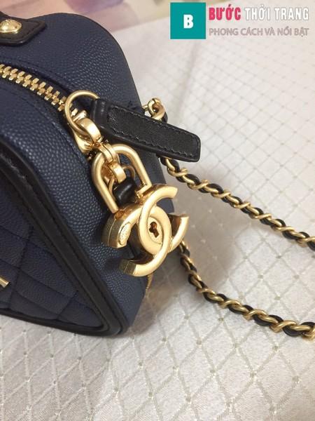 Túi xách Chanel Vanity case bag siêu cấp màu xanh đen size 17 cm - 93314