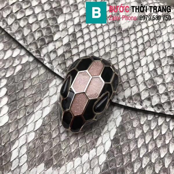 Túi xách Bvlgari Serventi forever siêu cấp da rắn màu trắng size 22cm