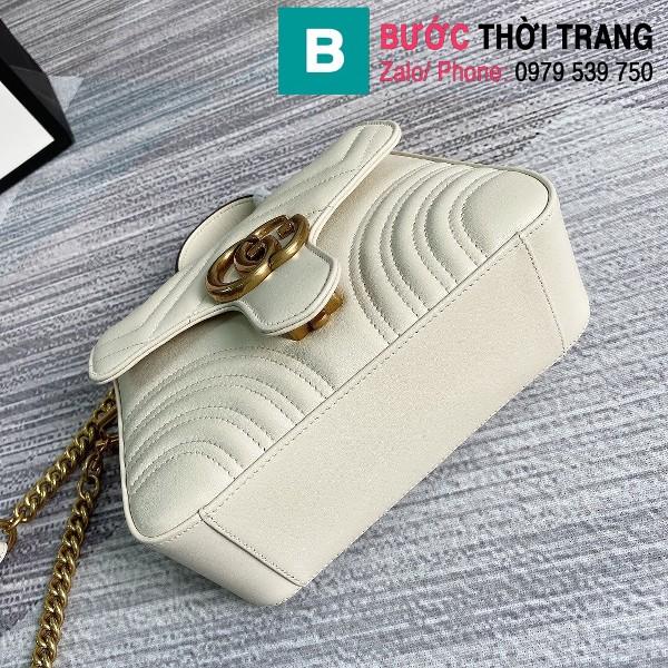 Túi xách Gucci Marmont mini top handle siêu cấp da chevron màu trắng size 21cm - 547260