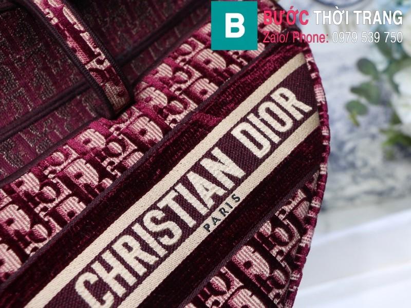 Túi xách Dior Saddle Bag {túi yên ngựa} siêu cấp vải canvas màu mận size 25.5 cm