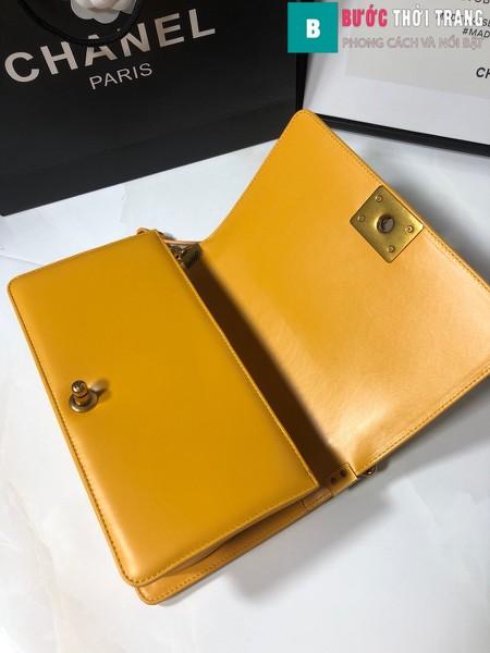 Túi xách Chanel boy siêu cấp da cá đuối màu vàng size 25 cm - A67086