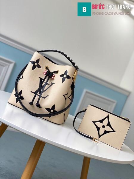 Túi xach LV Louis Vuitton Crafty NéoNoé MM siêu cấp màu trắng ngà size 26 cm -M56889