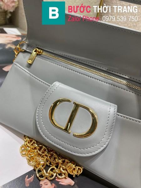 Túi xách Dior Small Diordouble Bag siêu cấp da bê màu xanh xám size 22cm - 6842