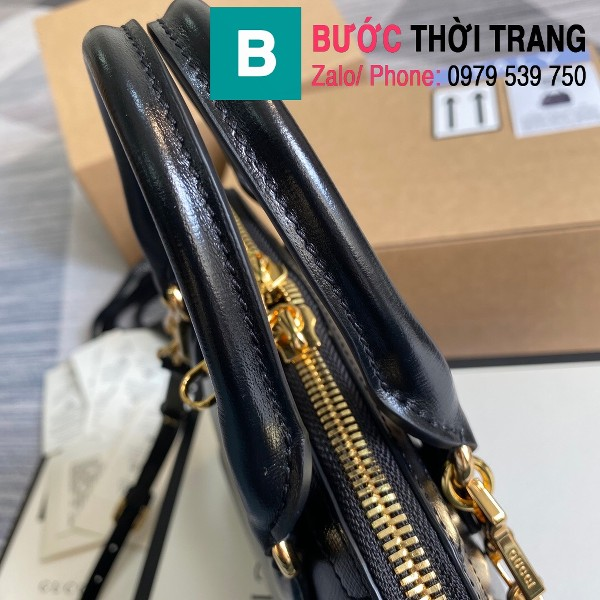 Túi xách Gucci Hosebit 1955 mini top handle bag siêu da bê màu đen size 20cm - 640716
