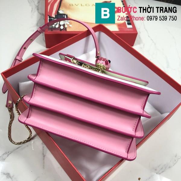 Túi xách Bvlgari serventi forever siêu cấp da bê màu trắng hồng size 18 cm