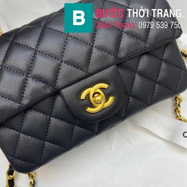 Túi xách Chanel Flap Bag siêu cấp da bê hạt màu đen size 20cm - AS2431